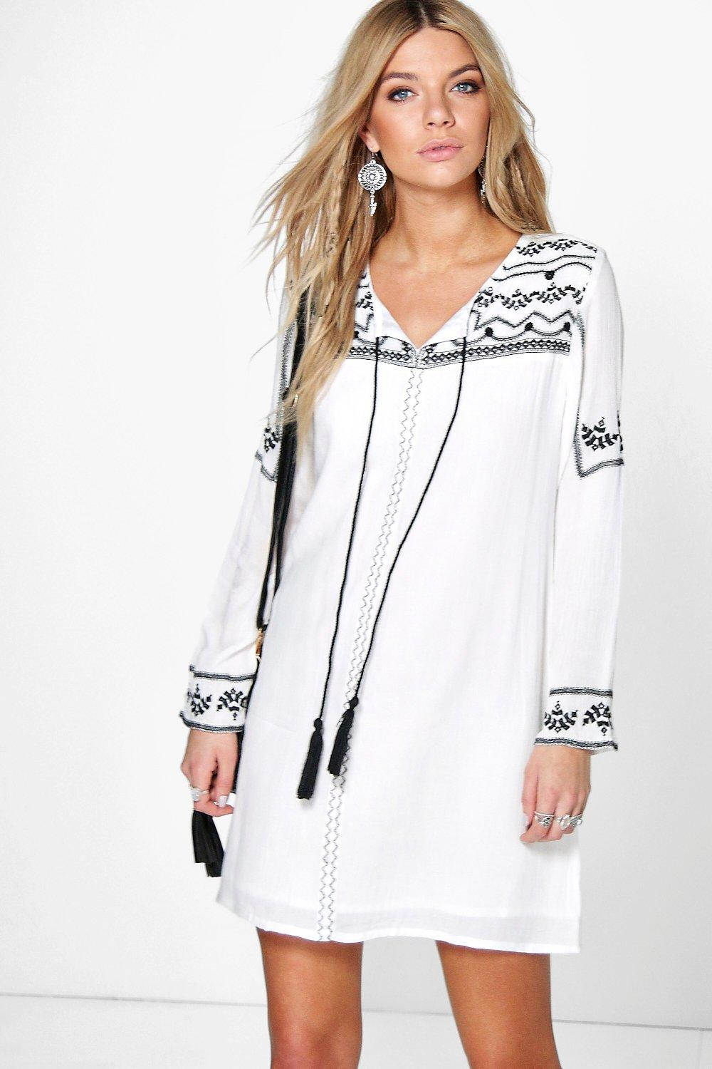 Selena Embroidered Tassel Dress