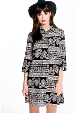 Ramona Monochrome Paisley Shirt Dress