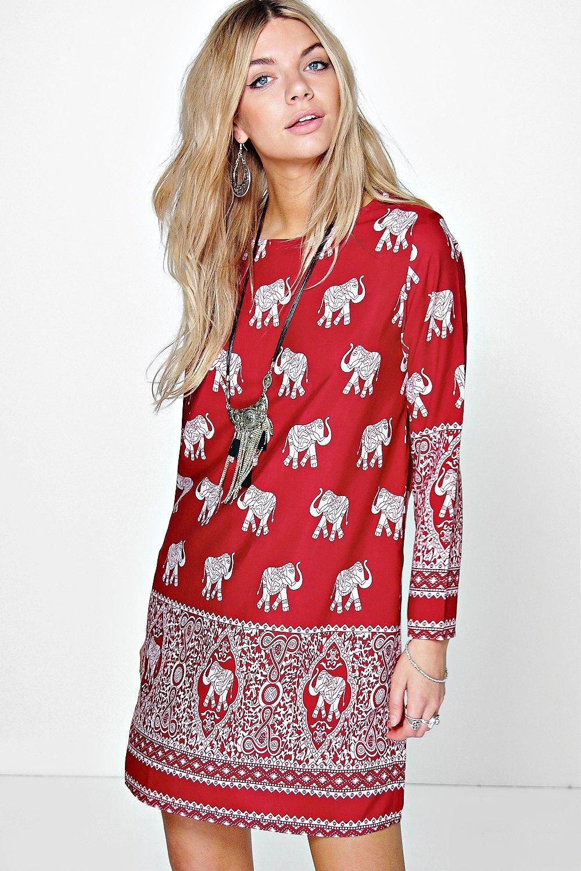 About boohoo womens mirelle elephant print long sleeve shift dress