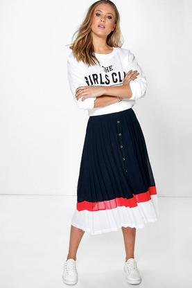 Royah Colour Block Pleated Midi Skirt