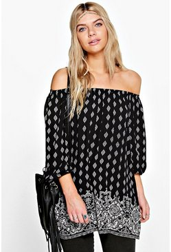 Bronagh Placement Print Woven Off The Shoulder Top