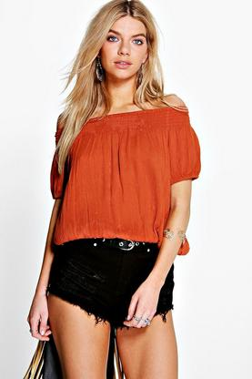 Tina Woven Crinkle Short Sleeve Top