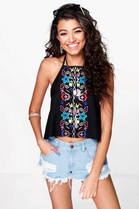 Roma Boutique Embroidered Halter Top