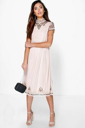Boutique Sia Beaded High Neck Midi Dress