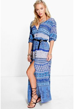 Irena Paisley Shirt Maxi Dress