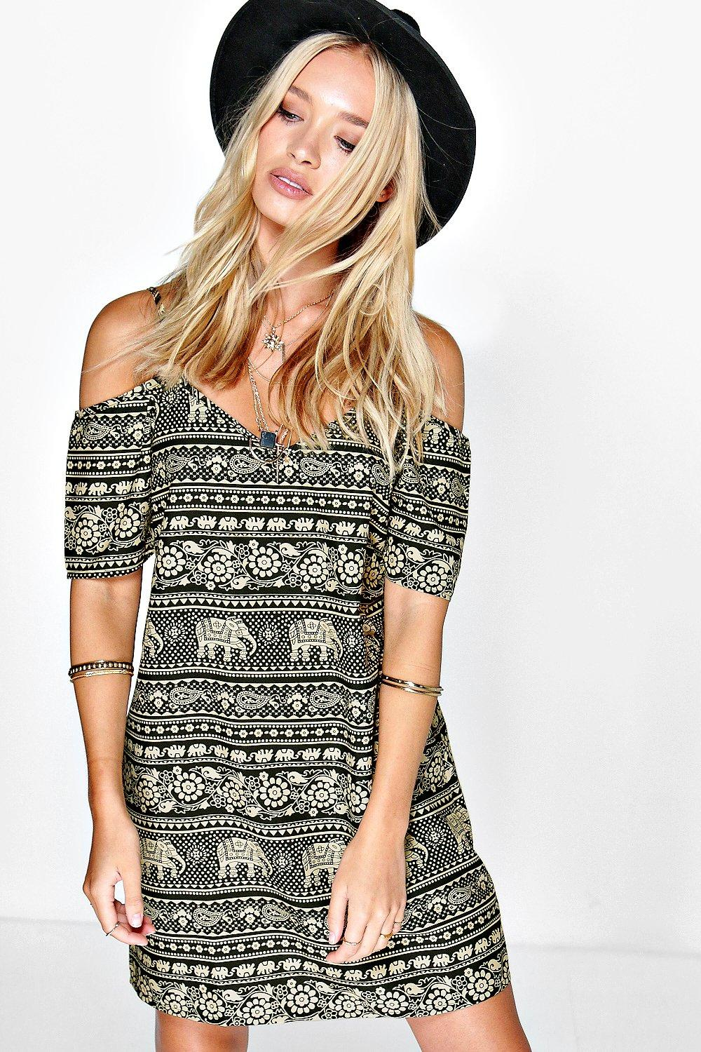 Lorete Elephant Print Open Shoulder Dress