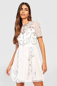 Boutique Ela Embellished Skater Dress