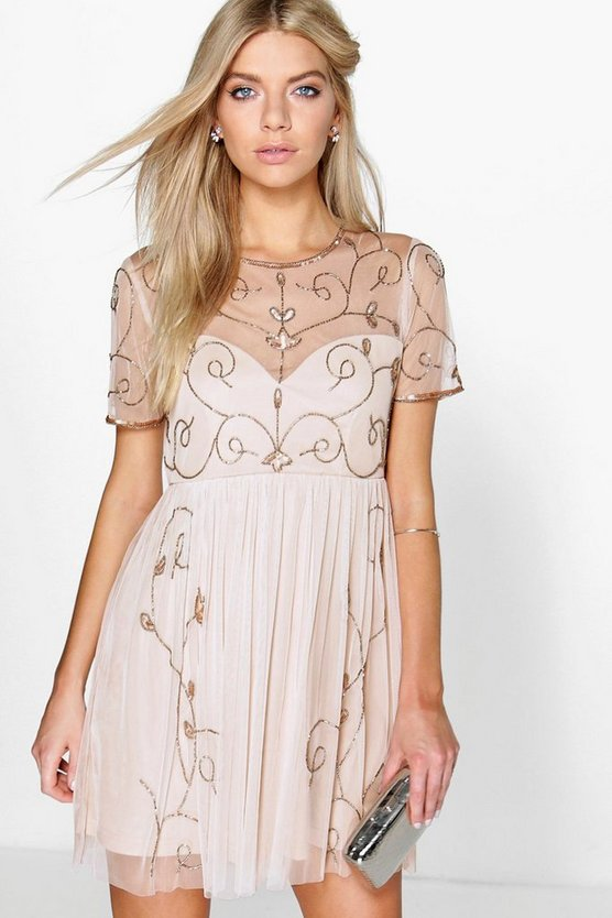 Boutique Embellished Skater Dress