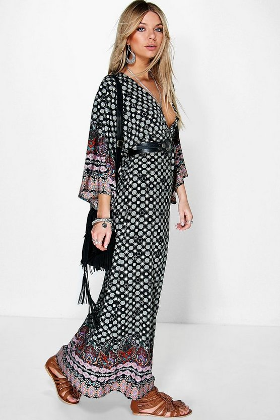 Tasha Border Print Maxi Dress