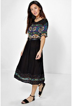 Tatiana Retro Print Midi Dress