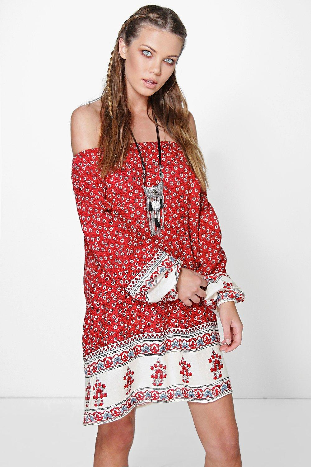 Paisley Off The Shoulder Dress - red