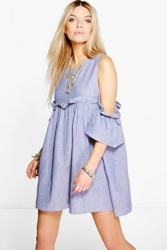 Denisa Chambray Frill Dress