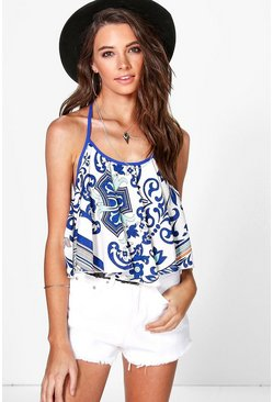 Emma Mix Print Crop Swing Woven Top