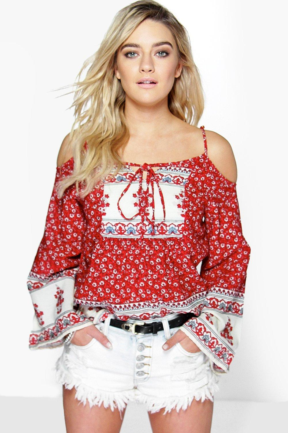 Cara Paisley Border Print Cold Shoulder Woven Top