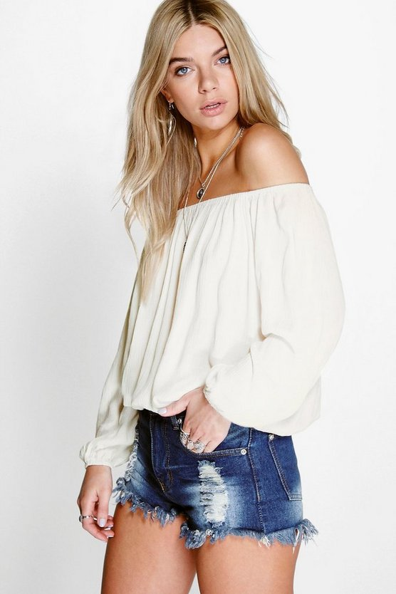 Blair Woven Crinkle Off The Shoulder Top