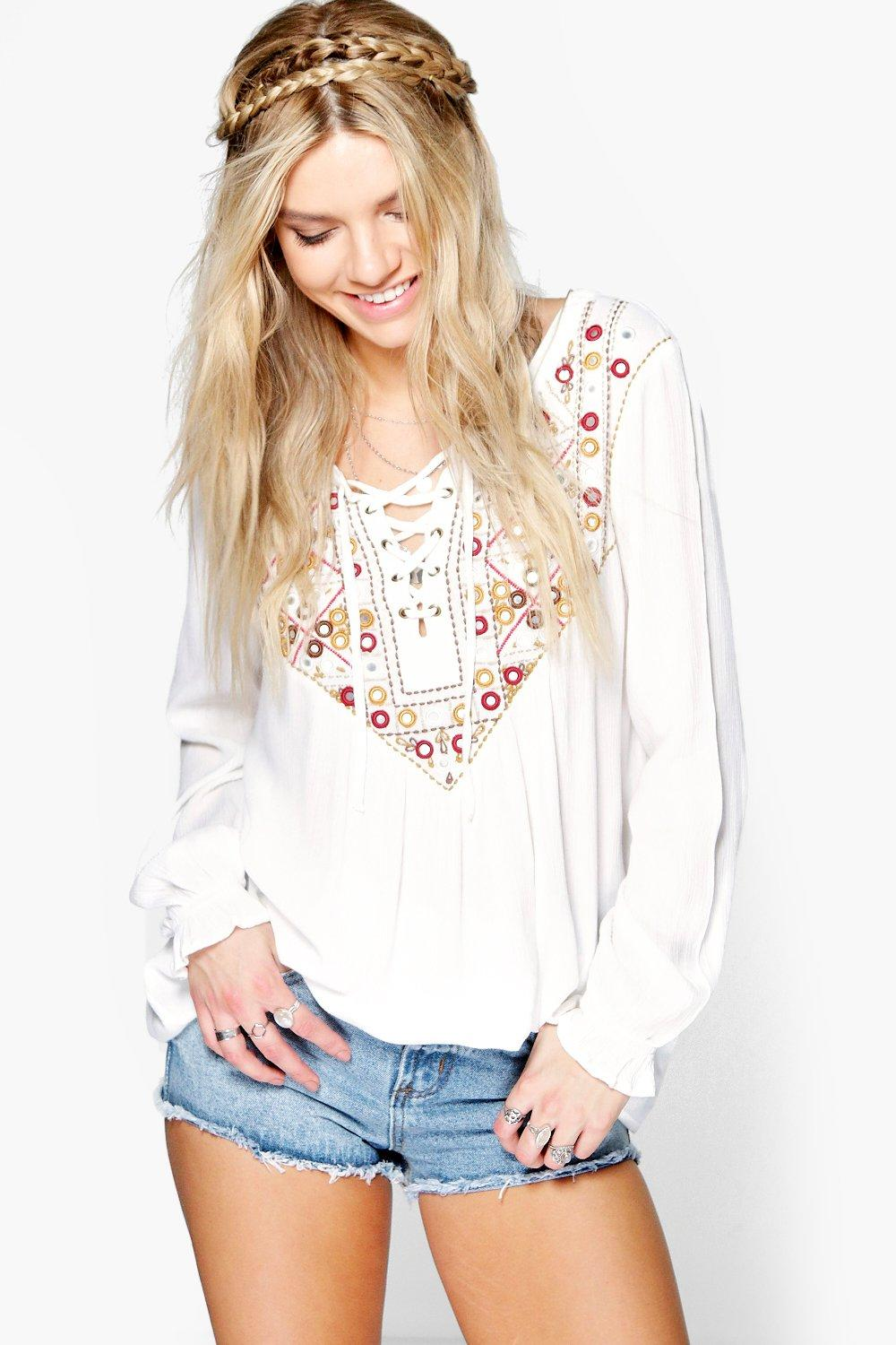 Tia Boutique Embellished & Embroidered Smock Top