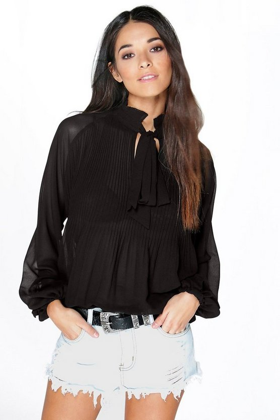 Polly Pleated Chiffon Ruffle Neck Blouse