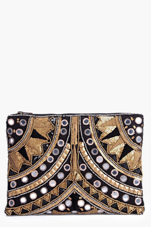 Leah Embellished Statement Clutch Bag gold