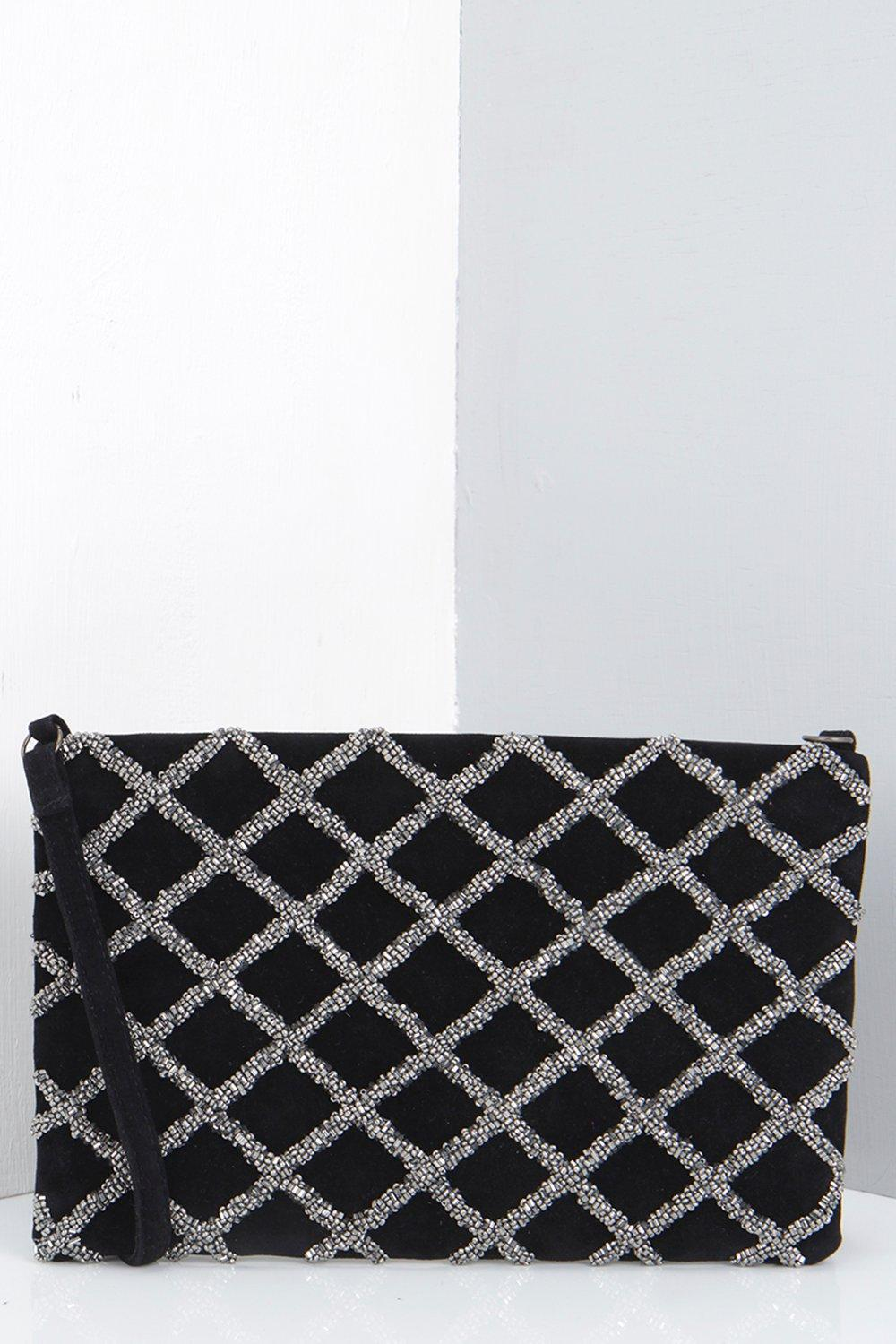 Ava Clutch Bag With Cross Body Strap grey