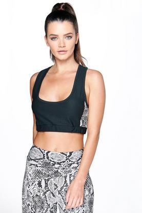 Evelyn Snake Print Panel Yoga Crop