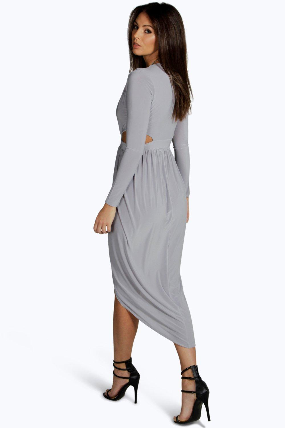 Silvia Cut Out Wrap Midi Dress at boohoo.com