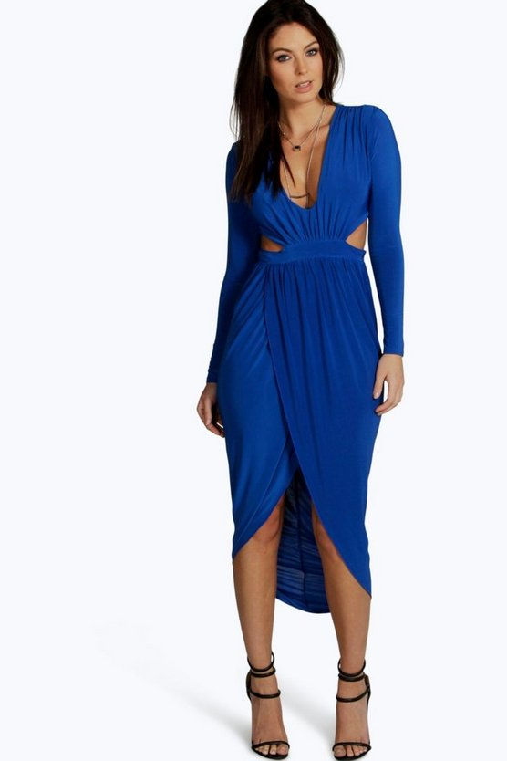 Silvia Cut Out Wrap Midi Dress