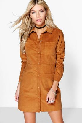 Aisha Cord 4 Pocket Shirt Dress