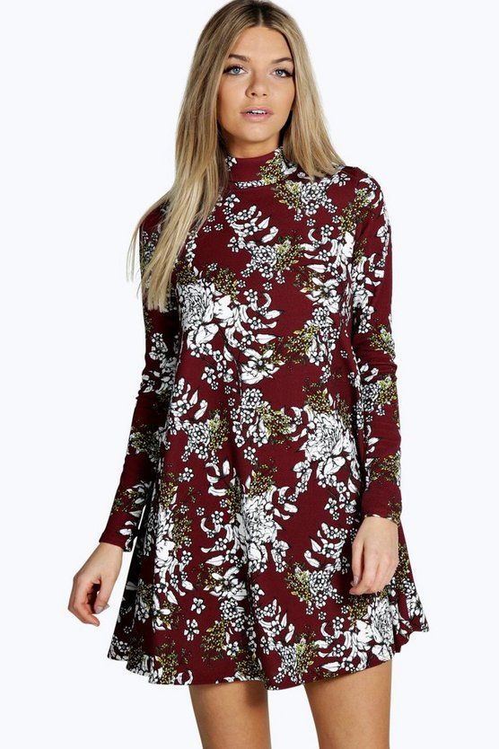 Trisha High Neck Floral Swing Dress