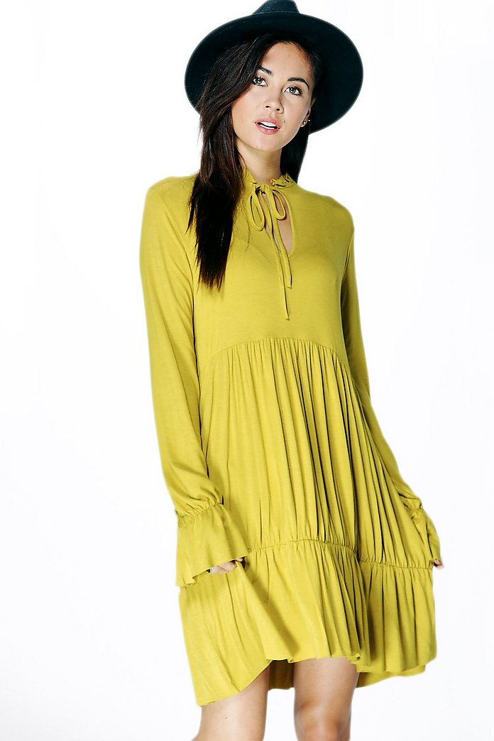 Tanya Tie Neck Rouched Smock Dress