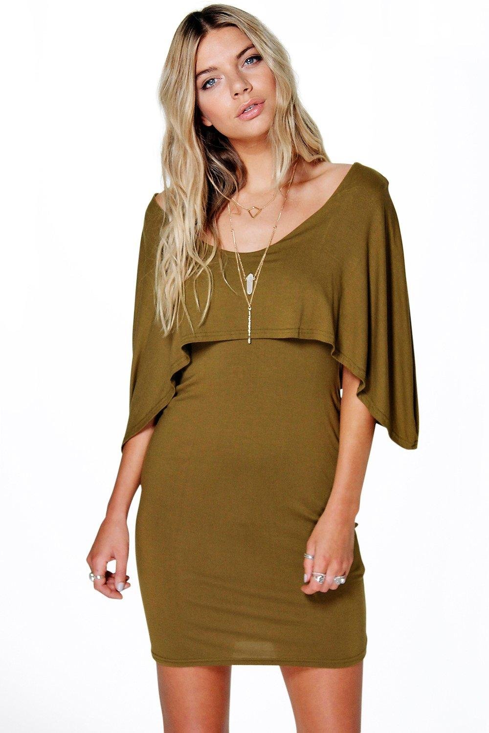 Caitlyn Cape Double Layer Bodycon Dress