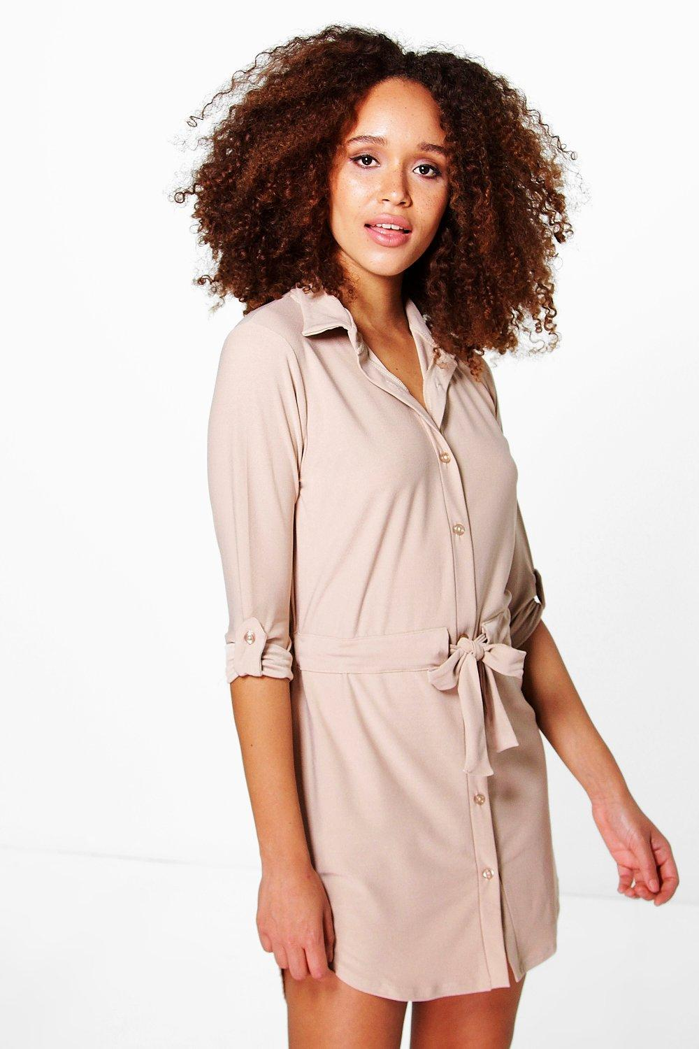 Alicia Tie Waist Pocket Shirt Dress