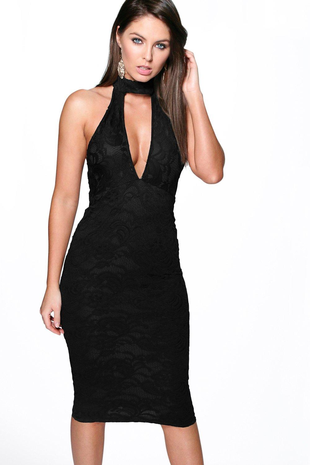 Patricia Lace High Neck Plunge Midi Dress