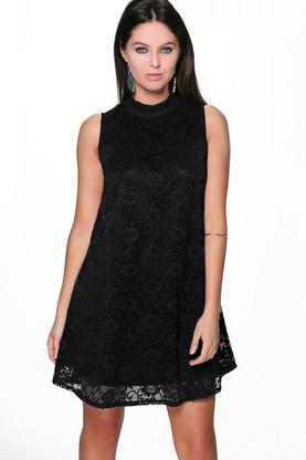 Vanessa Lace High Neck Swing Dress