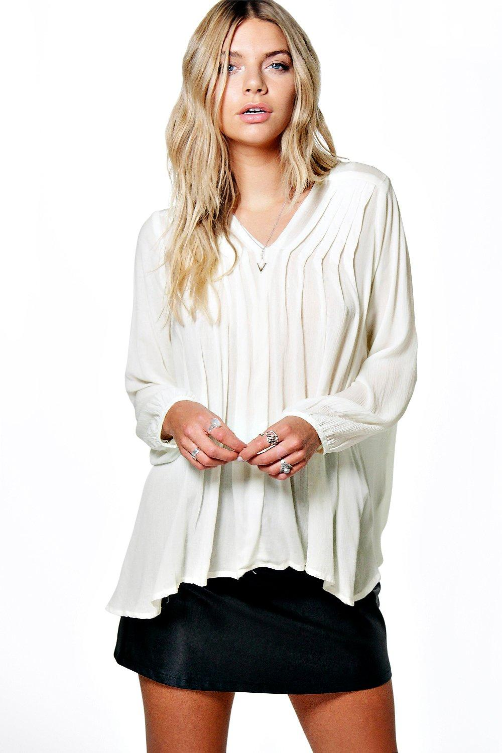 Bella V Neck Crinkle Pleat Detail Blouse
