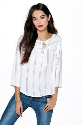 Sophia Tie Neck Striped Smock Top
