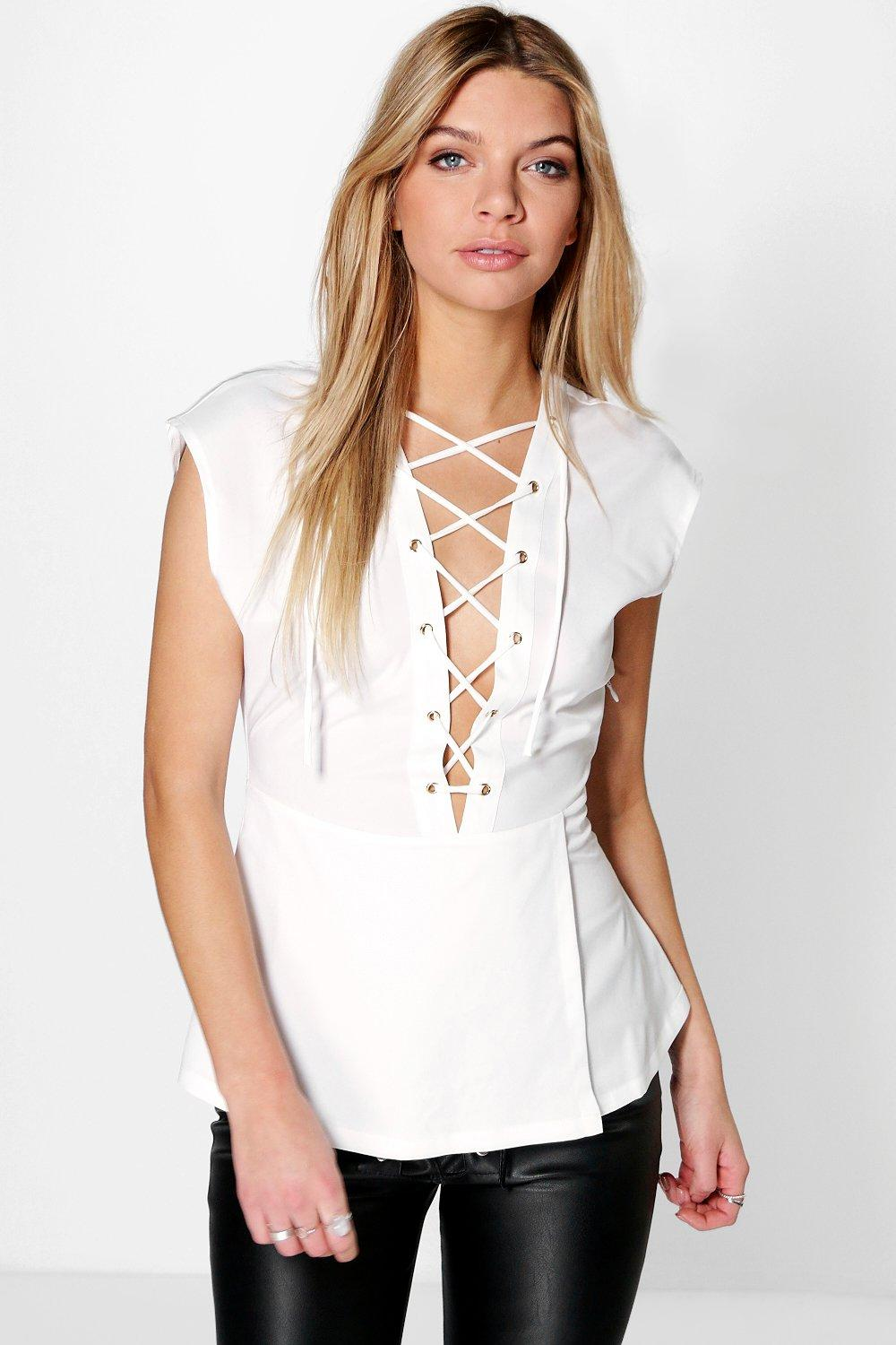 Daisy Lace Up Sleeveless Blouse
