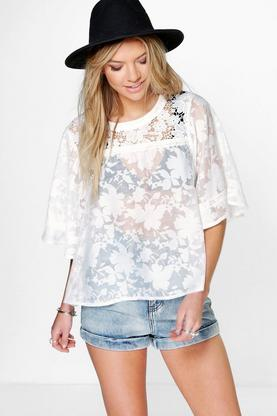 Mia Crochet Lace Panel Burnout Woven Swing Top