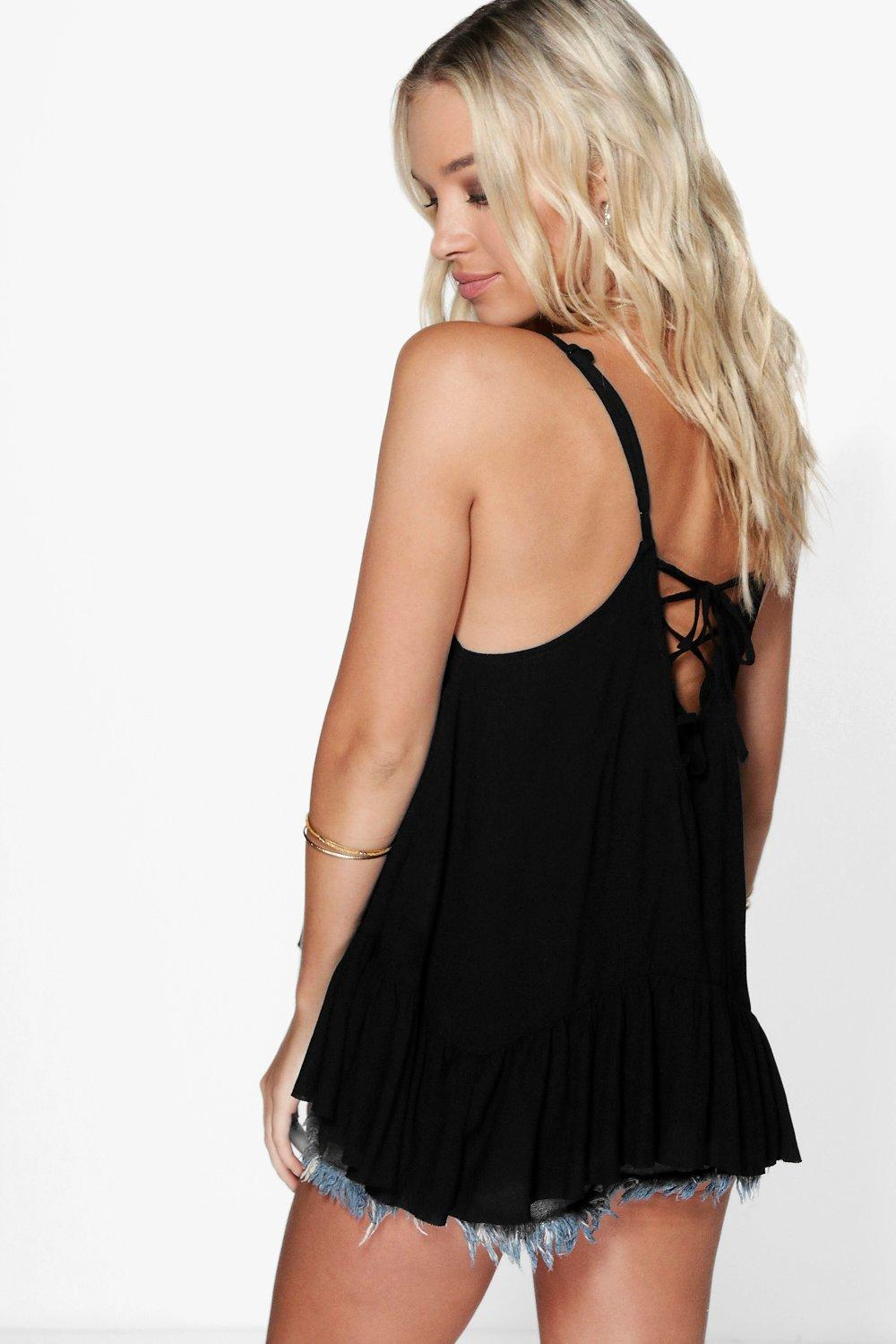 Rosie Embroidered Lace Up Cami