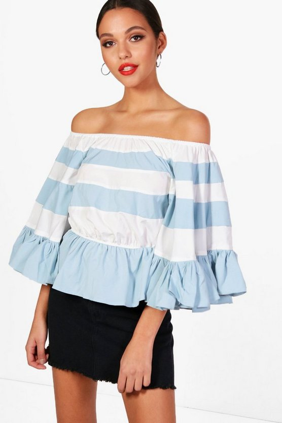 Paige Striped Off The Shoulder Top