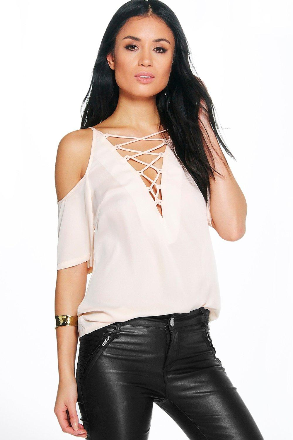 Esme Lace Up Open Shoulder Blouse