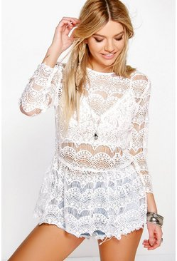 Isobel Crochet Lace Peplum Top