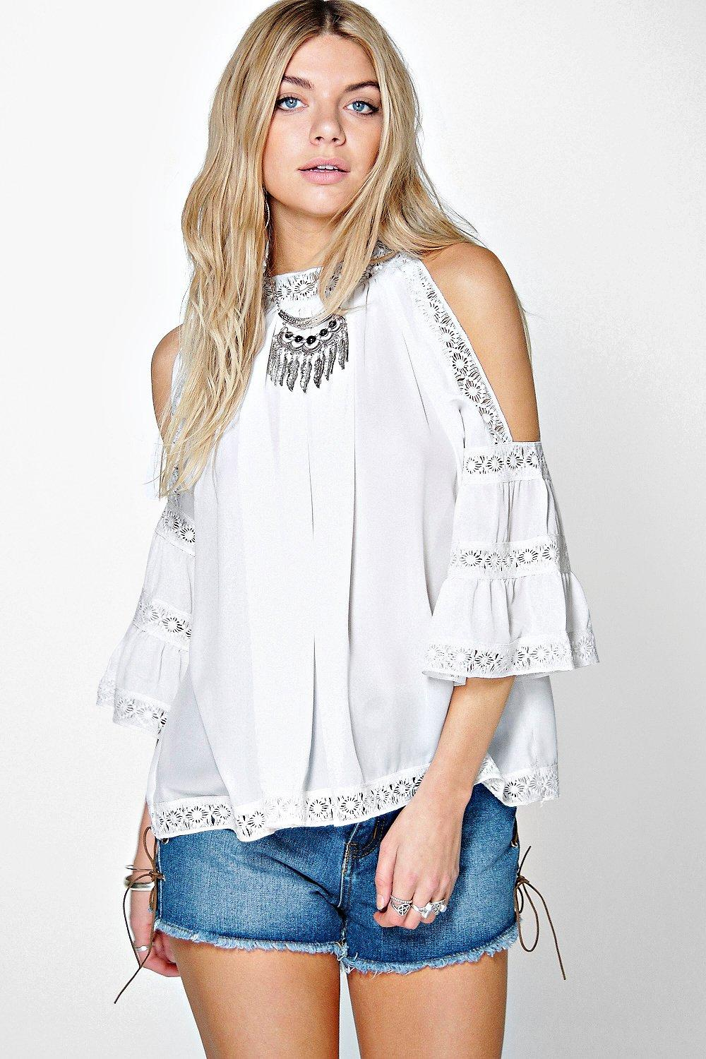 Lacey Crochet Trim High Neck Open Shoulder Blouse