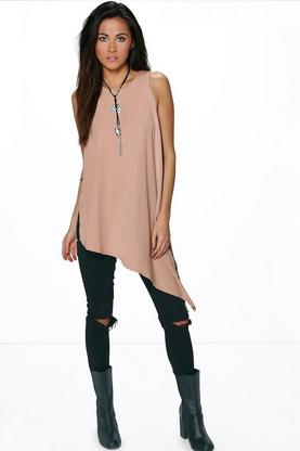 Reece Asymmetric Woven Sleeveless Tunic