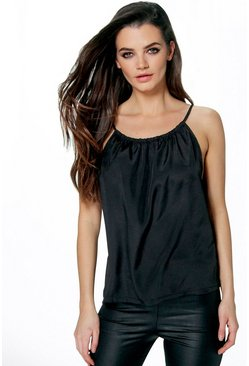 Becca Ruched Neck Strappy Cami