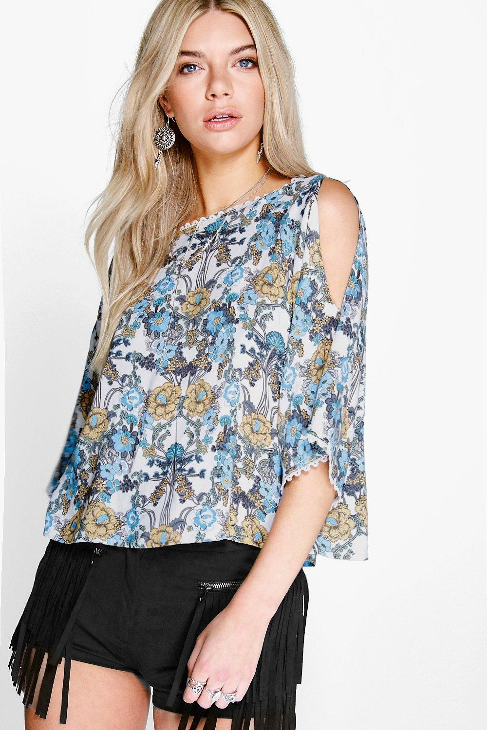 Keira Crochet Floral Open Shoulder Blouse