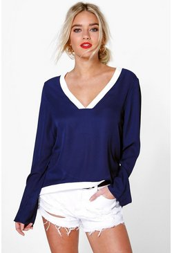 Aoife V Neck Long Sleeve Contrast Trim Blouse