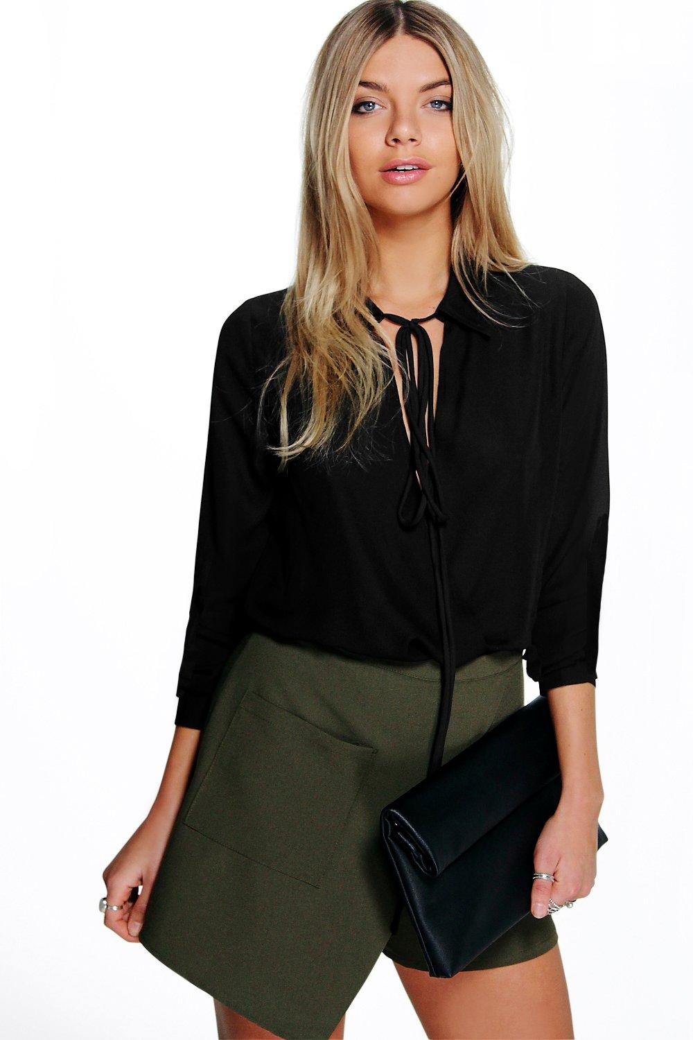Aimee Tie Front Long Sleeved Shirt