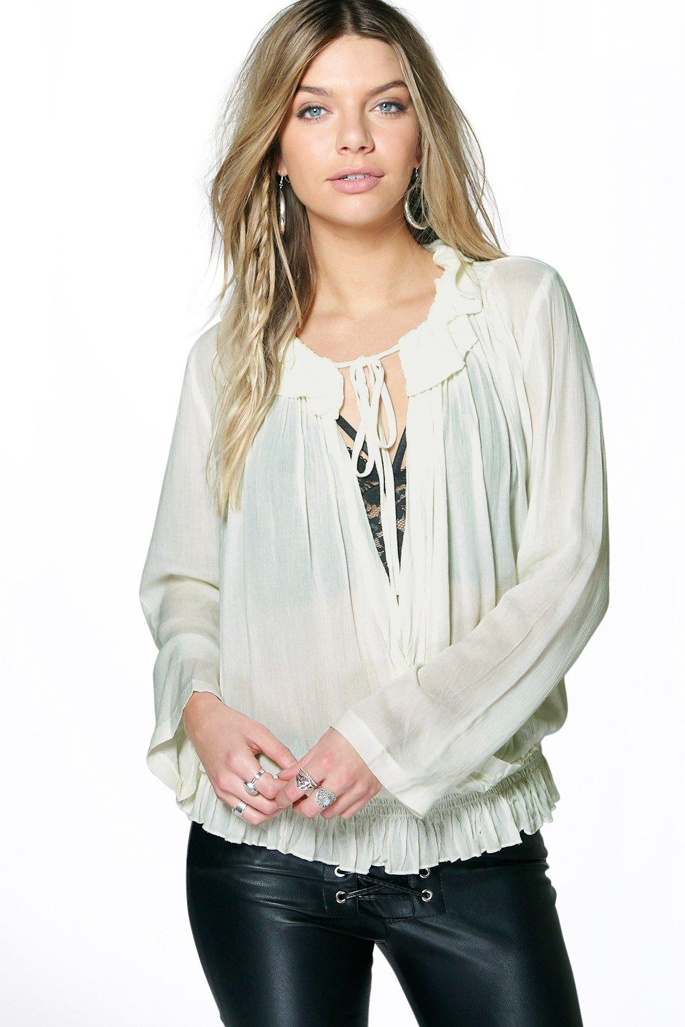 Katie Wrap Over Ruffle Blouse