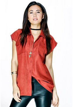 Una Microcord Sleeveless Pocket Shirt