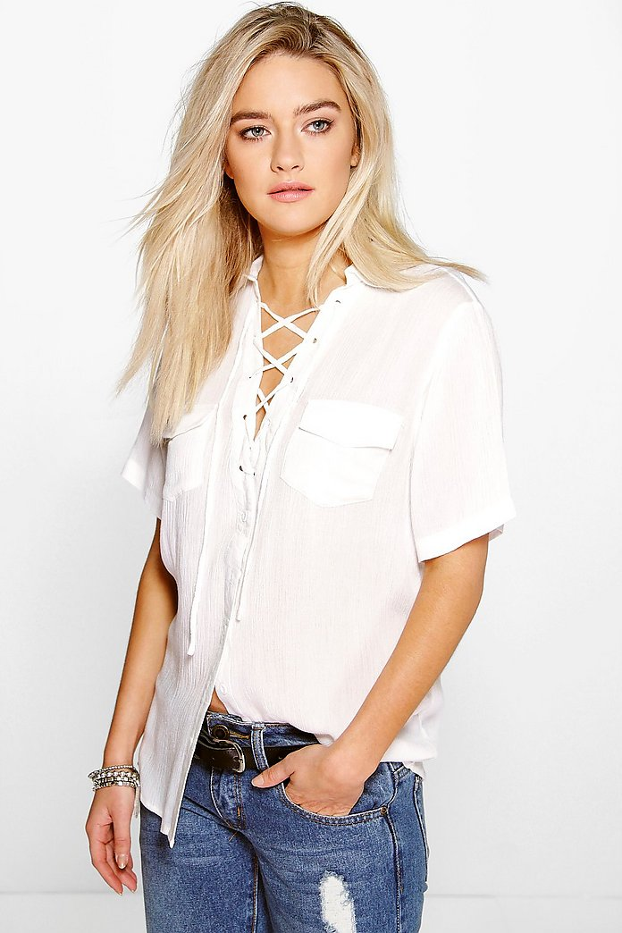 Nora Lace Up Pocket Shirt